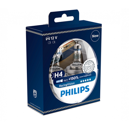 Lempučių komplektas PHILIPS 55W 12V PX26d H4 RacingVision+150%