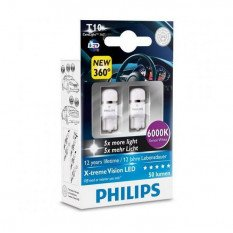 Lemputės Philips LED W5W T10 X-treme Vision 6000K