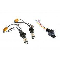 LED posūkio lemputė Bau15S su DRL Canbus 12V  2in1