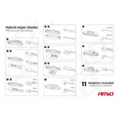 "Hybrid wiper blade multiconnect 24"" (600mm) 11 adapters"