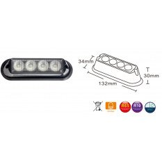 LED signalinis švyturėlis 12/24V oranžinis R65 R10 L2298-ALR