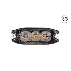 Slim Amber Grill Mount Flash Light 3x3W LED R65 R10 12/24V IP67