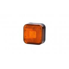 Square position light with HOR 24 reflector, LED 12 / 24V, orange